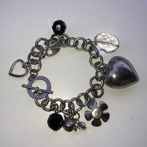 Silver Y2K Black & Heart Princess Charm Bracelet